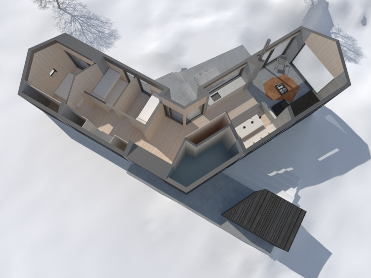 HYTTE SUND – Perspective Section – VÅG ARKITEKTUR AS